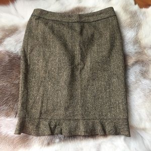 CLUB MONACO Olive Tweed Pencil Skirt 4